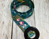 Women's Fabric Belt - Pink, Yellow and White Floral with a Teal Background