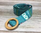 Women's Fabric Belt - Aqua Multi Colored Pattern