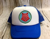 """Kids Youth/Toddler Trucker Hat - Royal Blue - with """"Geometric Bear"""" Patch - Toddler (12 Months- 7 years) Youth ( 2-12 years)"""