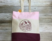 "Tri Colored Tote Bag - ""The Mountains Are Calling"" -tan, maroon, pink"
