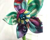 Flower Fabric Headband - Green Headband with Floral and Seafoam Pattern Flower