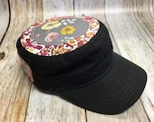 Women's Military Hat - Gray and Pink Floral Pattern - Cadet Hat in Black