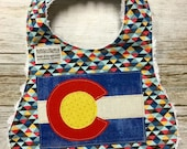 Baby Bib in Geometric fabric with Colorado Flag Applique- Baby Boy Gift- Baby Gift - Gender Neutral Baby Gift