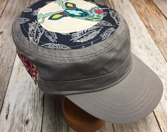 6357eda0b33 Women s Military Hat - Navy with White Feathers and Colorful Deer - Cadet  Hat in Grey