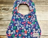 Baby Girl Bib in Navy Floral Fabric - Baby Shower Gift - Baby Girl - Baby Accessories