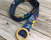 Women's Fabric Belt - Navy with Yellow Floral