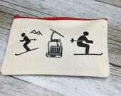 Ski themed Make up bag or Pencil Case