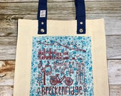 "Tote Bag - ""Breckenridge Colorado "" - Natural with Navy Gusset and Handles"