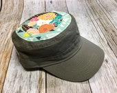 Women's Military Hat - Geometrical Mint Background and Earthy Floral Colors Pattern - Cadet Hat in Olive Green