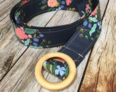 Women's Fabric Belt - Navy with Pink Flowers
