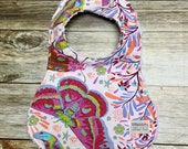 Baby Girl Bib in Colorful Butterflies and flowers pink background fabric - Baby Shower Gift - Baby Girl - Baby Accessories