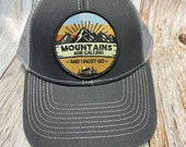 "Women's Trucker Hat - ""Mountains are Calling""Patch - Gray Trucker Hat"