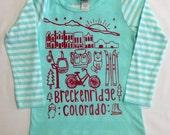 Girl's Breckenridge  custom drawn  design on Mint Long Sleeved Shirt