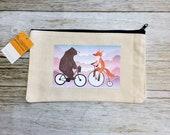 """Makeup Bag- """"Fox and Bear on Bikes"""""""