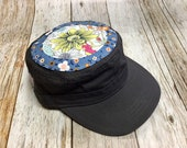 Women's Military Hat - Little Floral in Blue Background and Yellow flower appliqué - Cadet Hat in Charcoal