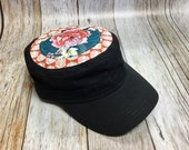 Women's Military Hat - Geometrical Orange Background and Rose Pattern - Cadet Hat in Black