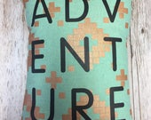 ADVENTURE Throw Pillow Cover: Mint with gold - Alexia A...