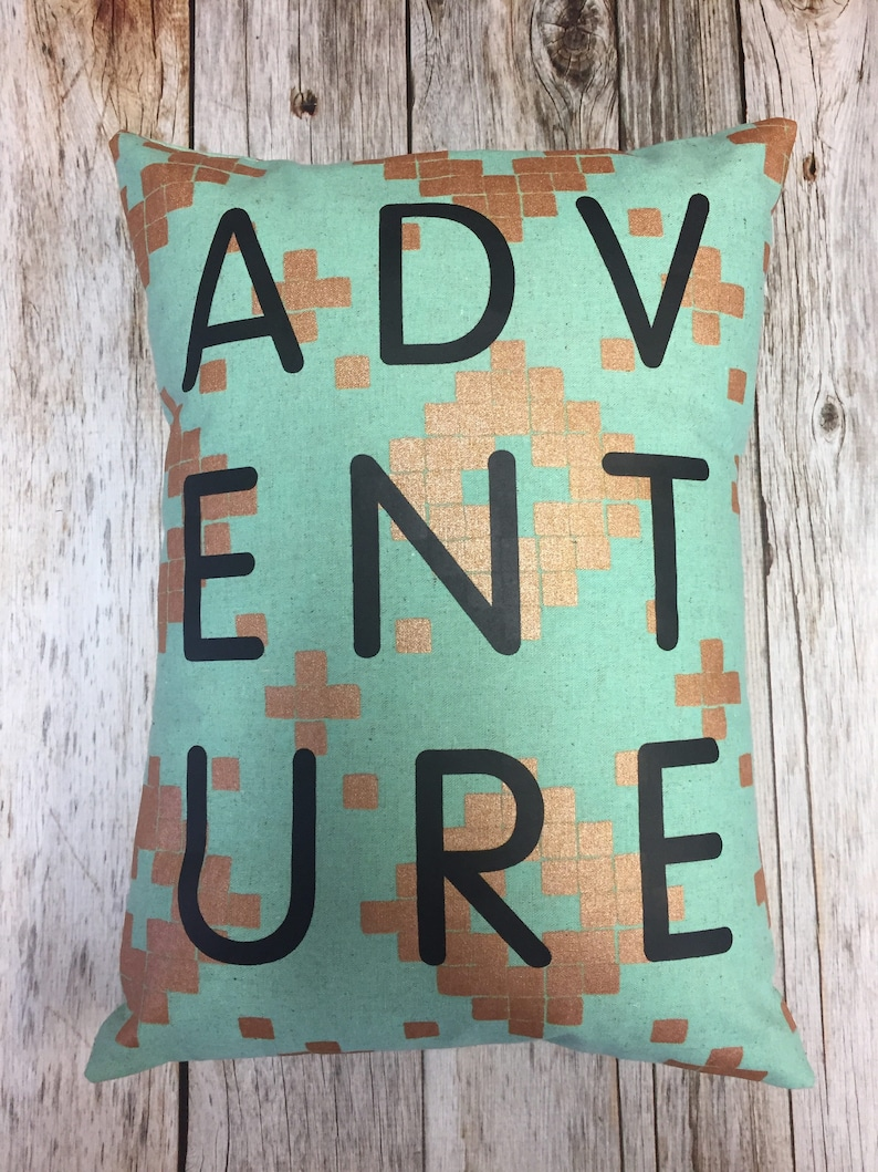 ADVENTURE Throw Pillow: Mint with gold  Alexia Abegg Mesa image 0