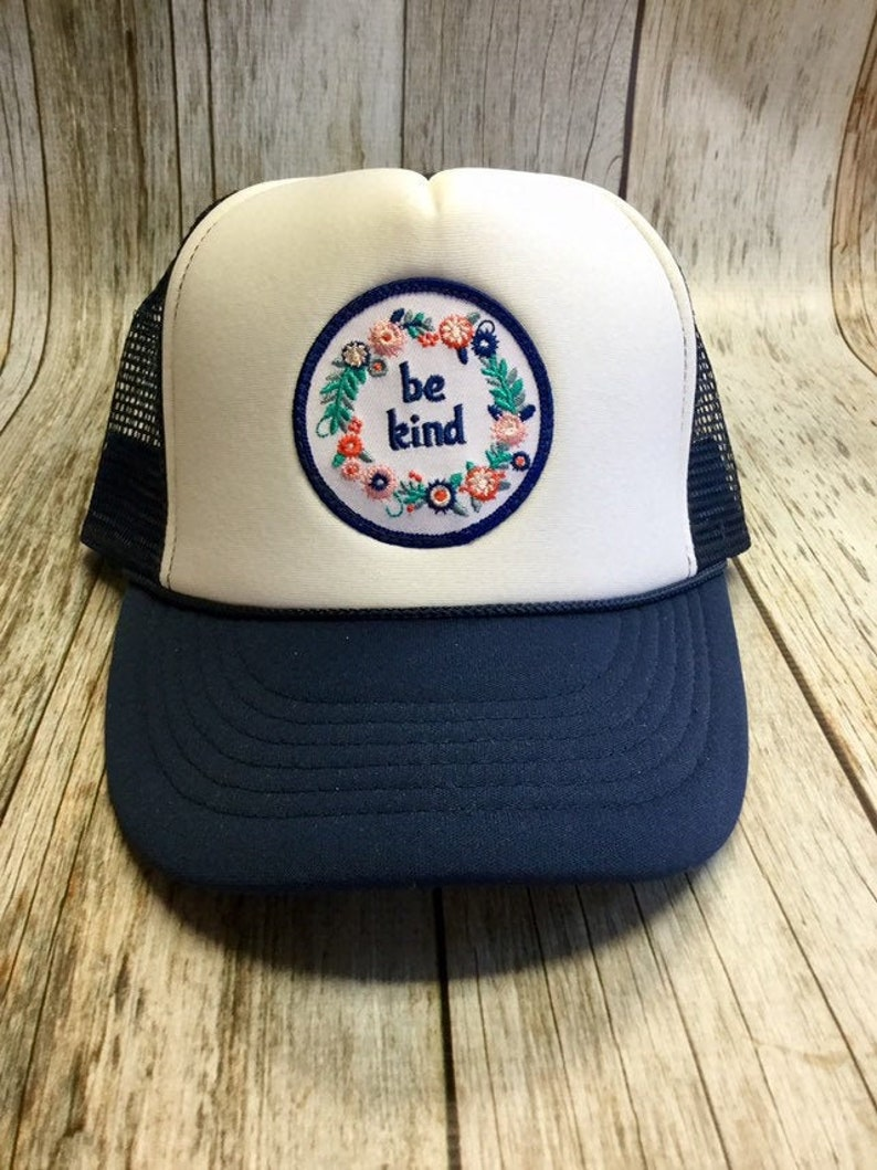 Kids Youth Trucker Hat  Navy  with Be Kind Patch image 0