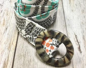 Women's Fabric Belt - Teal and Grey Design