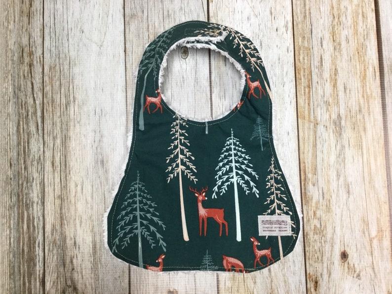Gender Neutral Bib in Forest Green Deer Fabric  Baby Shower image 0
