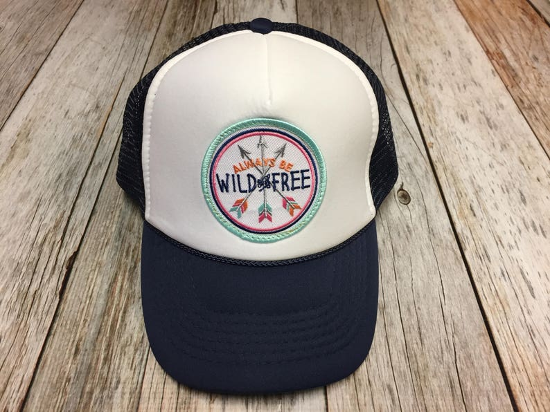 Youth/Girls Navy and White Trucker Hat with Always Be image 0