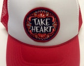 Youth Red Trucker Hat-with Take Heart Patch-Kids trucker hat