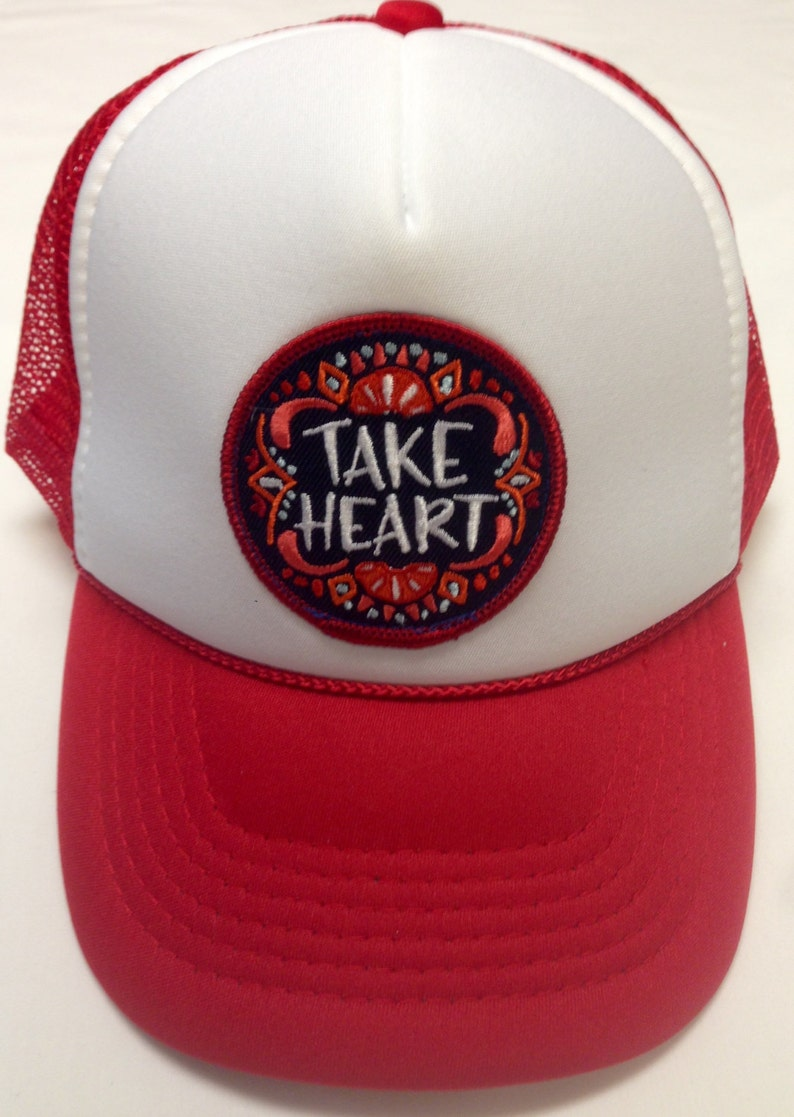 Youth Red Trucker Hat-with Take Heart Patch-Kids trucker hat image 0