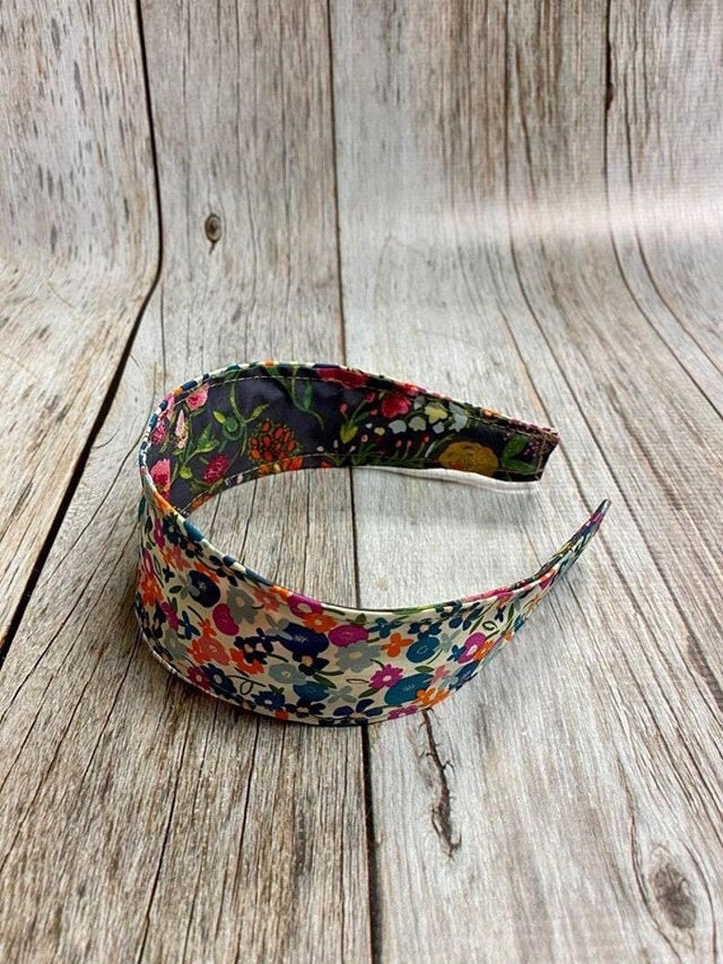 Reversible Fabric Covered Headband  Multicolors Tiny Flowers image 0