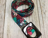 Women's Fabric Belt - Perennial Pink, jade green and White Flowers with a Black Background