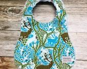 Gender Neutral Baby Bib Deer in Blue and Green Forest Print - Baby Shower Gift - Baby Bib - Baby Accessories
