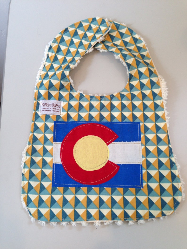 Baby Boy's Bib in blue and mustard with Colorado Flag image 0