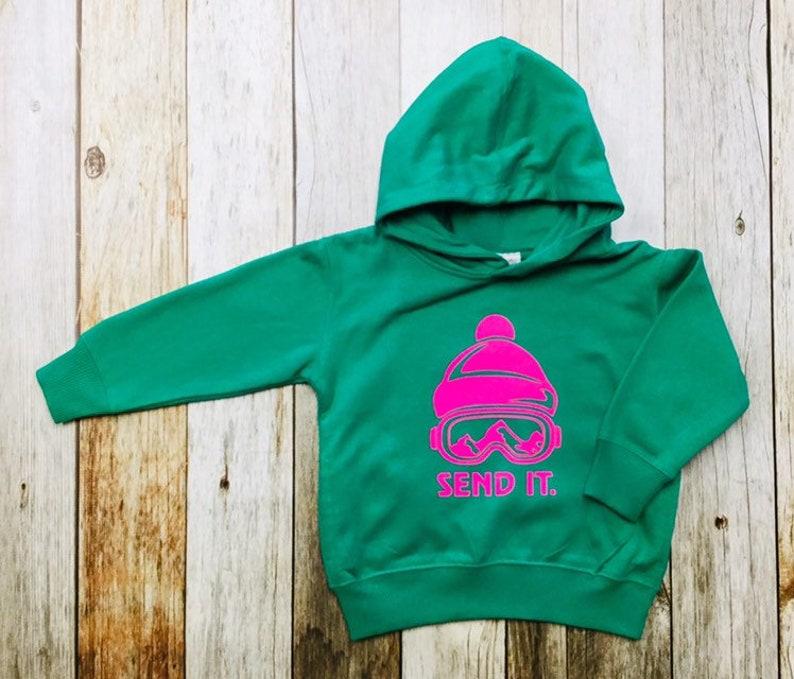 Girls Hoodie   Send It Toddler/Kids Sweatshirt Appliqué image 0