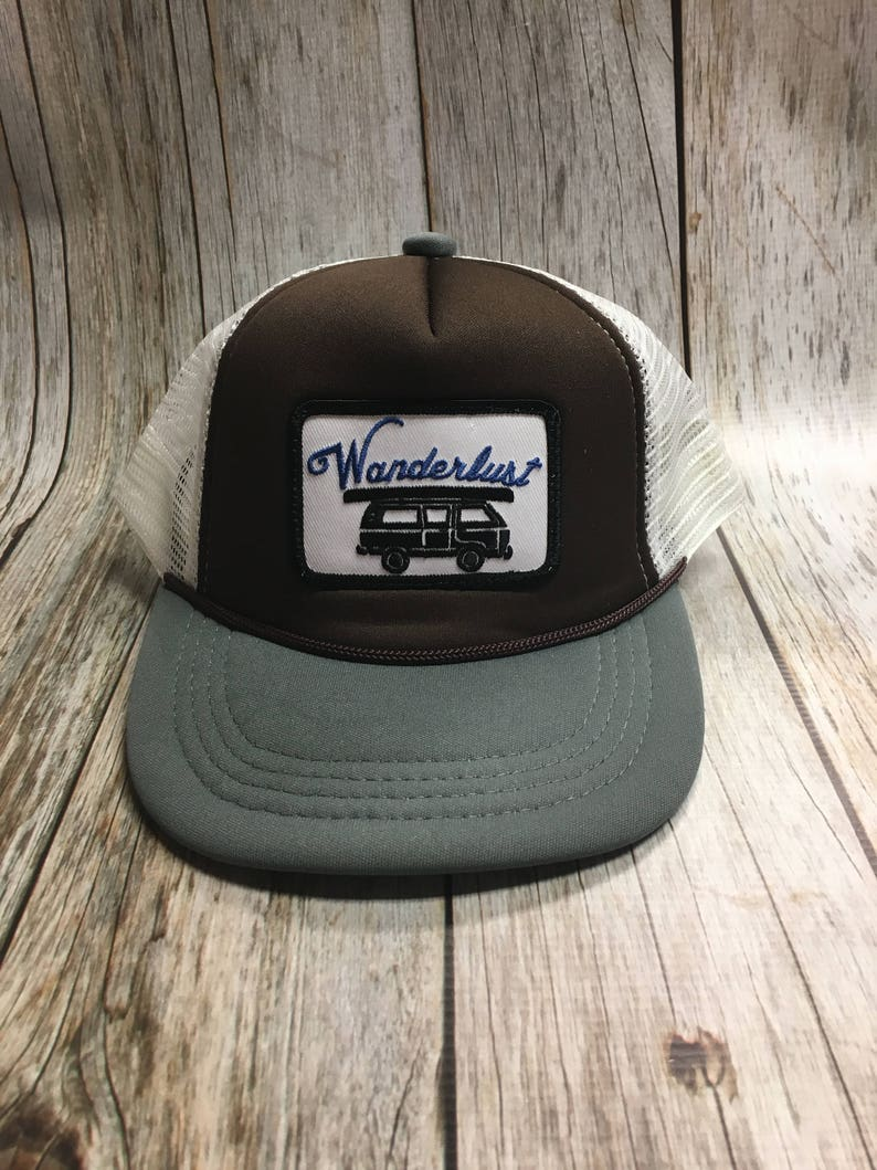 Toddler/Kids Trucker Hat Wanderlust Patch Brown/Gray /White image 0