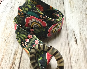 Women's Fabric Belt - Navy with Red Flowers