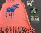 Mountain Moose Bright Melon Fringe Toddler Tank Dress- Baby Girl Boho Fringe Tank Dress with Applique Patch sewn on back