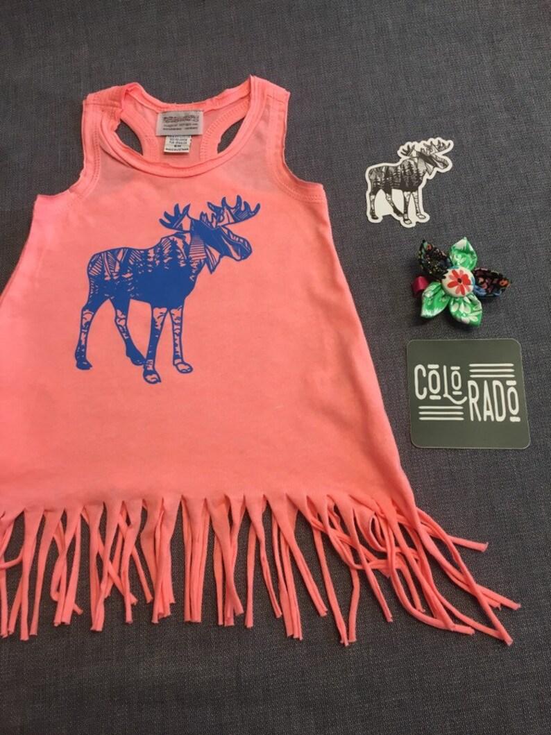 Mountain Moose Bright Melon Fringe Toddler Tank Dress Baby image 0