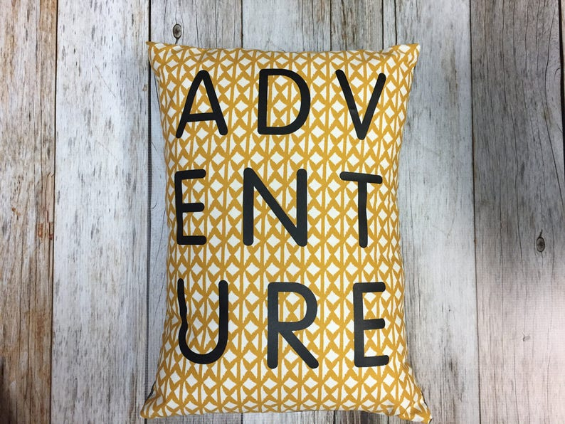 ADVENTURE Throw Pillow in Mustard with Grey Denim Backing image 0
