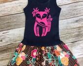 Girl's Toddler Tank Dress - Navy with hot pink Boho Deer- Floral print bottom- Infant Baby Sun Dress
