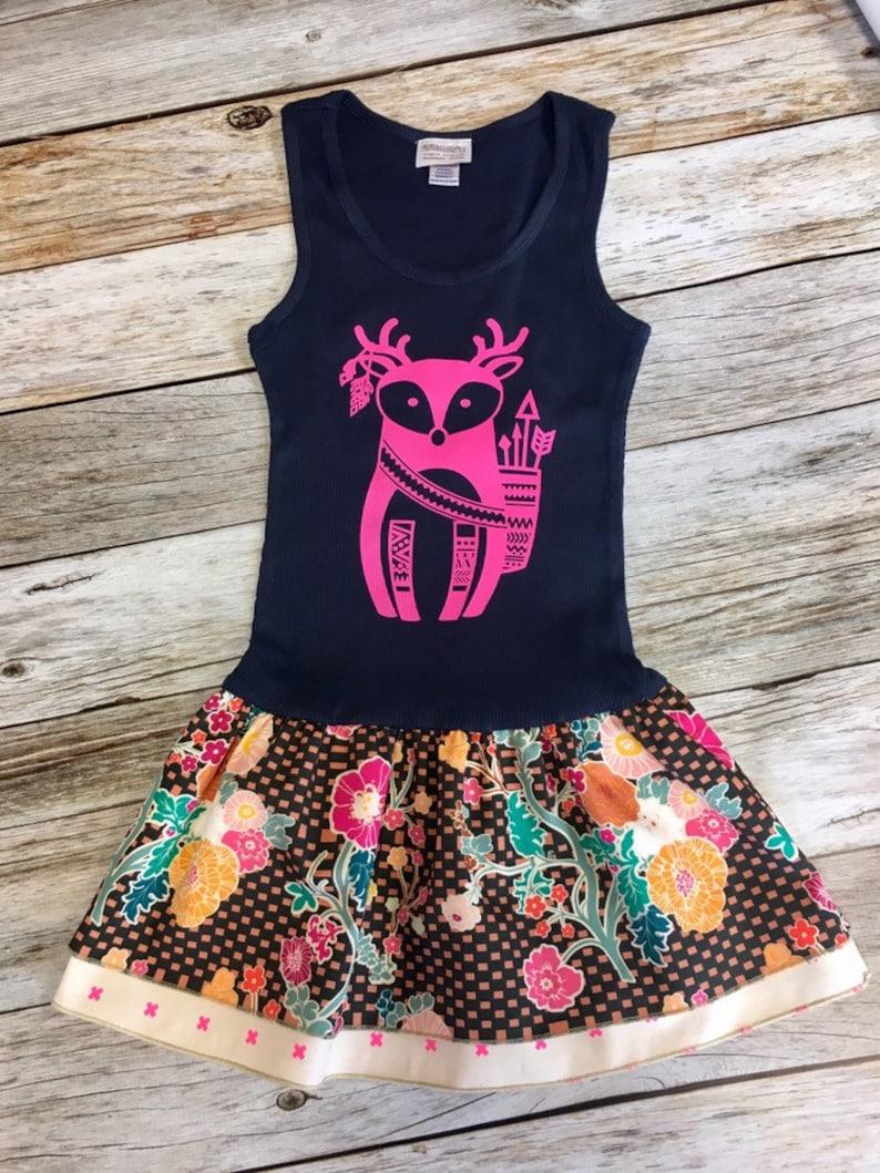 Girl's Toddler Tank Dress  Navy with hot pink Boho Deer image 0