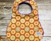 Baby Girl Bib in Orange and yellow geometric floral fabric - Baby Shower Gift - Baby Girl - Baby Accessories