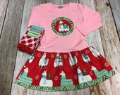 Girls Christmas Outfit-Applique Holiday Frock with Christmas Llamas- With Leg Warmers