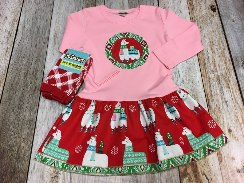 Girls Christmas Outfit-Applique Holiday Frock with Christmas image 0