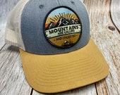 Women's Trucker Hat - Mountain's are Calling Patch - Gray/khaki Trucker Hat
