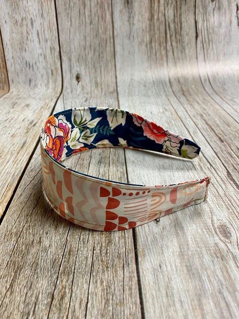 Reversible Fabric Covered Headband  Dark Green Floral & image 0