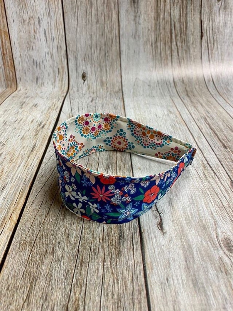 Reversible Fabric Covered Headband  Colorful Blue Floral & image 0