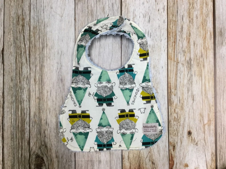 Baby Boy Bib in I Love Gnomes Fabric  Baby Shower Gift-Baby image 0