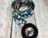Women's Fabric Belt - Delicate Pink and Orange Flowers with a Green Background