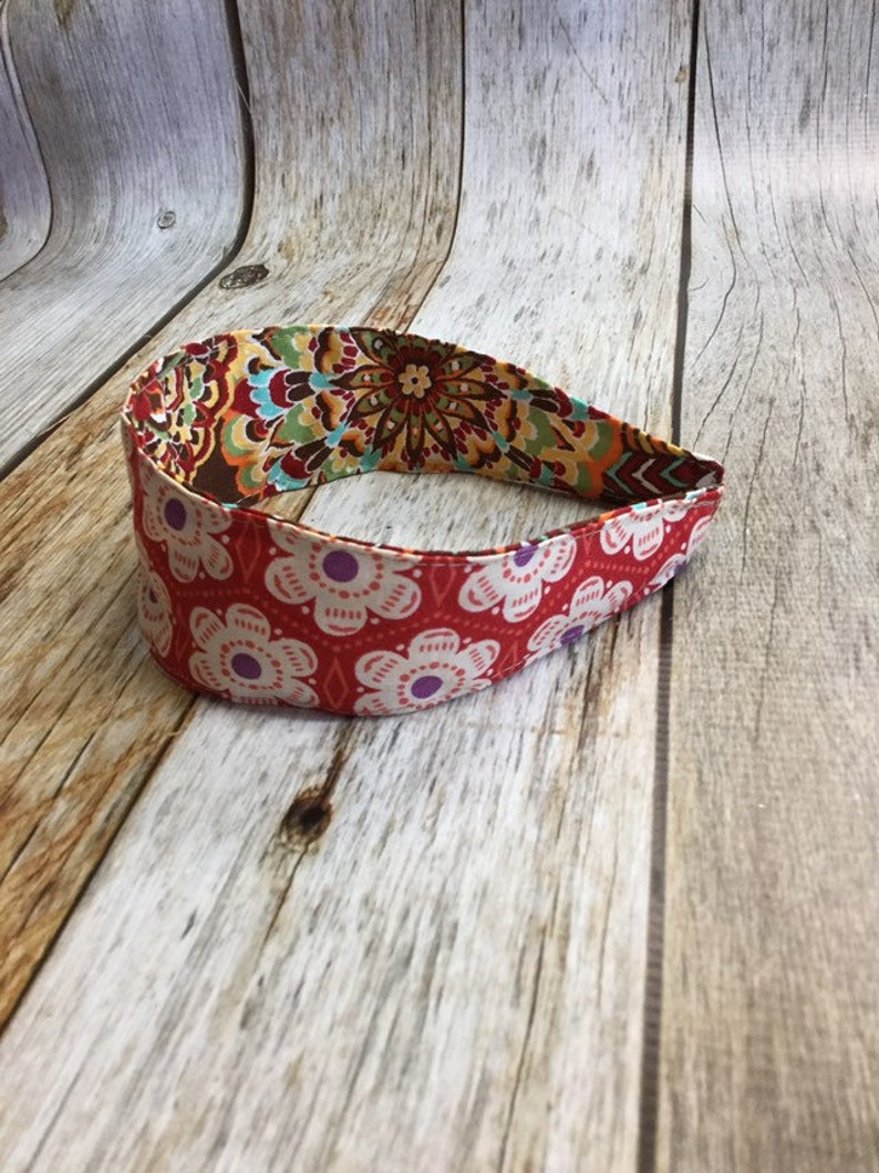 Reversible Fabric Covered Headband  Red Floral & Multi image 0