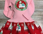 Girls Pink Llama Christmas Dress -Applique Holiday Dress with Appliqué - Christmas Boutique Outfit